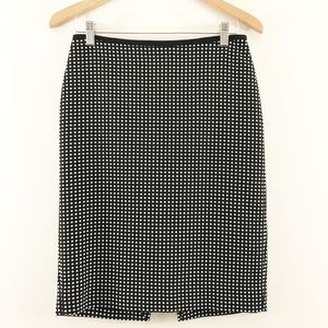 WHBM Black Pencil Skirt with Dots